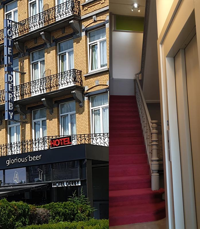 Hôtel Derby vue extérieur et ascenseur